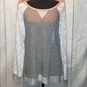 Tops - Philosophy Grey White Lace Long Sleeve Shirt XL